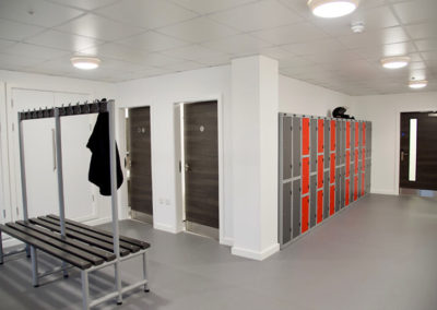 Staff showers and locker room