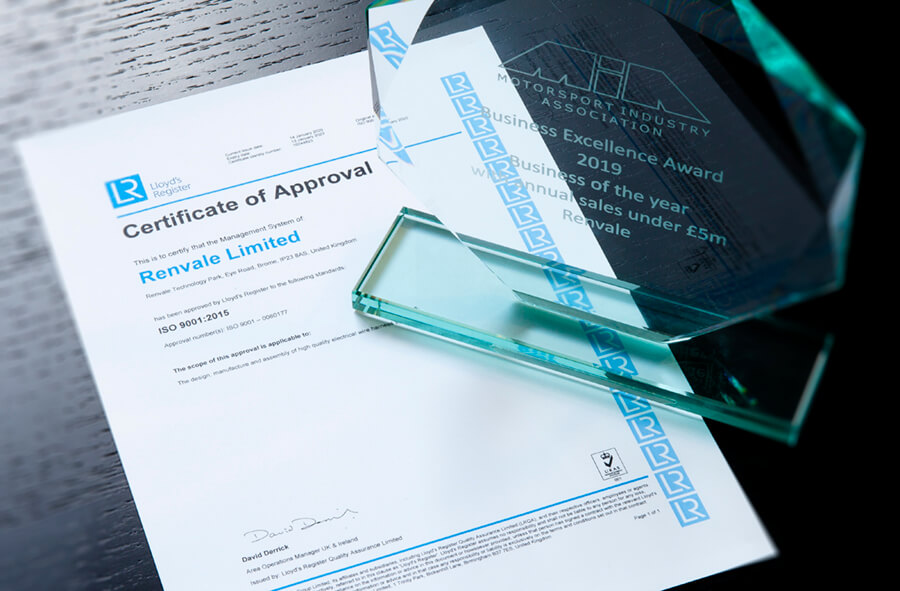 Renvale ISO 9001 Certificate and MIA business of the year award