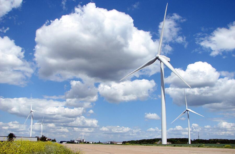 Wind farm turbines green energy Eye Suffolk