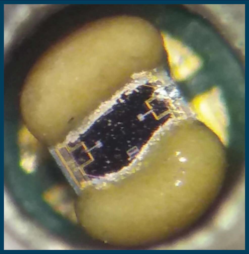 Worlds smallest pressure sensor being held between fingers