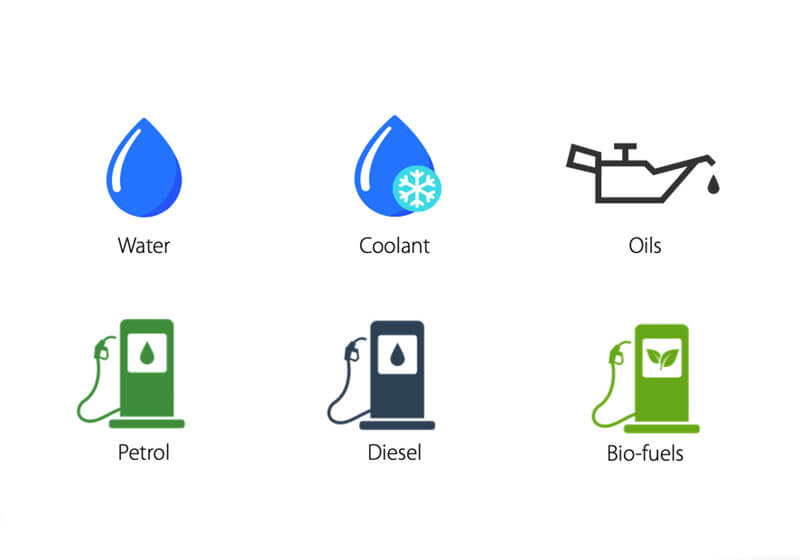 Two rows of 3 icons on white background. Icons include, water, coolant, oil, petrol, diesel and bio fuel