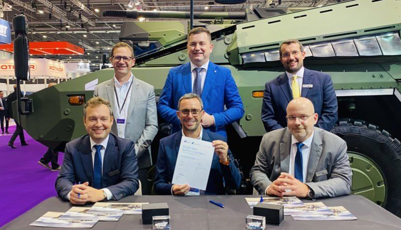 Anthony Moss, Renvale COO proudly displaying the signed contract from RBSL and Rheinmetall